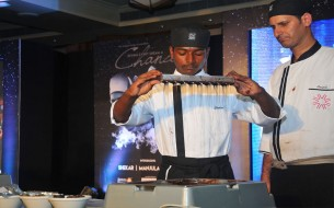 Shekar, a chef in the making, showing his chocolatier skills to the audience. He was mentored in Vivanta By Taj